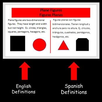 Math English Spanish Glossary