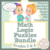 Math Enrichment Logic Puzzles, Distance Learning Independent Work, 5th 6th Grade