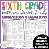 Math Enrichment Board for Expressions and Equations Sixth Grade