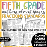 Math Enrichment Board for Fractions Fifth Grade