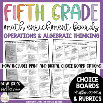 Math Enrichment Board for Operations and Algebraic Thinking Fifth Grade