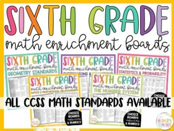 Math Enrichment Board for Ratios and Proportional Thinking Sixth Grade