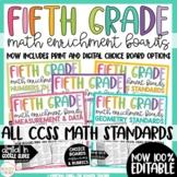Math Enrichment Boards for Fifth Grade Distance Learning and Editable