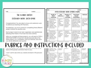 Math Enrichment Choice Boards for Sixth Grade All CCSS Standards