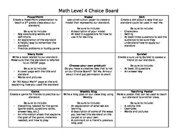 Math Enrichment Choice Board