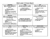 Math Enrichment Choice Board