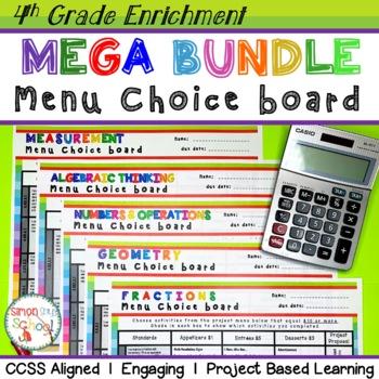 Math Enrichment Choice Board Bundle – All 4th Grade Standards