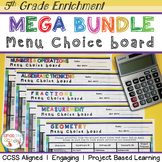 Math Enrichment Projects Choice Board Bundle – All 5th Gra