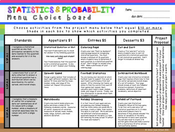 6th Grade Math Choice Boards Bundle – Enrichment Math Menus - ALL STANDARDS