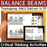 Math Enrichment   Lower Grades Thanksgiving Balance Beams