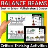 Math Enrichment   Middle Grades Back to School Balance Bea