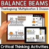 Math Enrichment   Middle Grades Thanksgiving Balance Beams