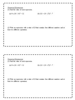 Math Enrichment Problems (Algebraic Expressions and Properties) - 6th Grade