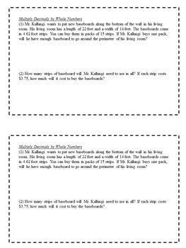 Math Enrichment Problems (Decimals and Exponents) for 6th Grade Math
