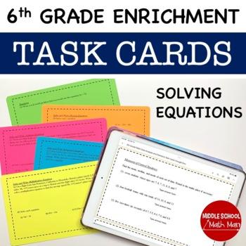 Math Enrichment Problems (Equations) - 6th Grade