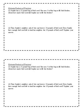 Math Enrichment Problems (Operations With Fractions) for 6th Grade Math
