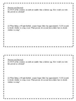 Math Enrichment Problems (Fractions, Decimals, and Percents) - 6th Grade