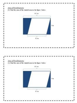 Math Enrichment Problems (Perimeter, Area, and Volume) - 6th Grade