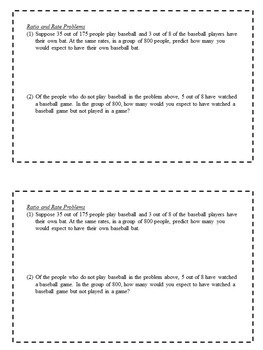 Math Enrichment Problems (Rates and Ratios) - 6th Grade