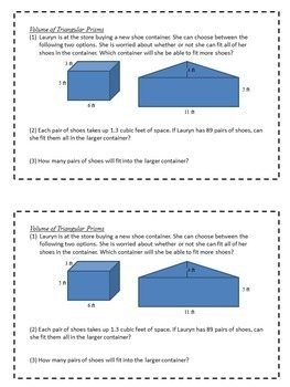 Math Enrichment Problems (Volumes and Surface Area) - 6th Grade