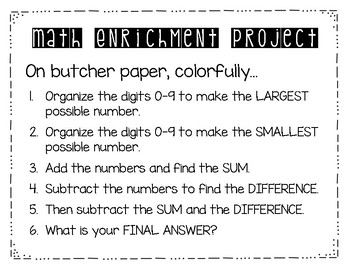 Math Enrichment Projects for the Year