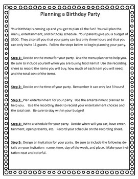 Math Enrichment Task Project:  Planning a Birthday Party