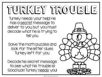 Thanksgiving Math Enrichment: Turkey Trouble