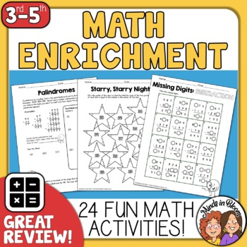 Math  No-Prep Printables | Math Enrichment | Math Worksheets | Math Practice