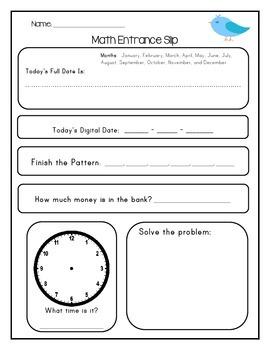 Math Entrance Slip - Blank Format