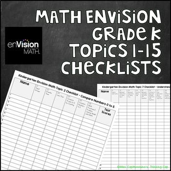 Math Envision Kindergarten Topics 1-15 Checklists