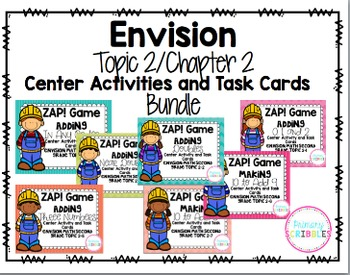 Math Envision Topic 2 Grade 2 Center Activity and Task Card Bundle