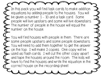 Math Equation Houses:  Adding People to 10