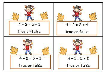 Math Equations  Four True or False Games on Two Levels - Fall Scarecrow Theme