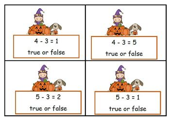 Math Equations  Four True or False Games on Two Levels - Halloween Theme