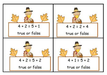 Math Equations  Four True or False Games on Two Levels -  Turkey Theme