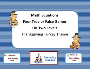 Math Equations  Four True or False Games on Two Levels -