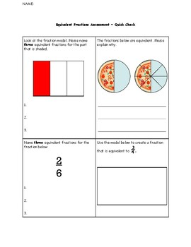 Math Equivalent Fractions Formative Assessment Quiz Test Quick Check SPED ESL