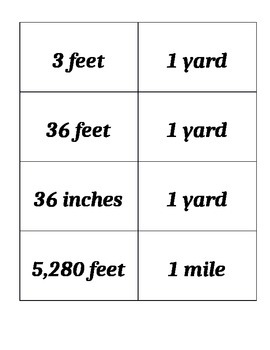Math Equivalent Length, Time and Measurement Flash Cards