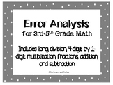 Math Error Analysis Multiplication, Division, Addition, Su