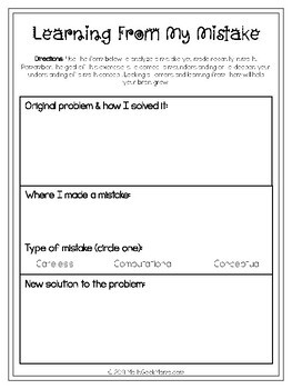 Math Error Analysis Template Pages + Classroom Poster Set