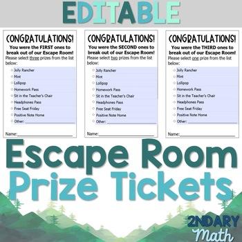 Math Escape Prize Cards