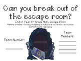 Math Escape Room #3 - 3rd End of Year Math Review