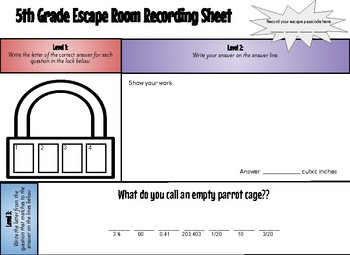Math Escape Room 5th Grade Review (#5)