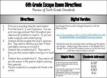 Math Escape Room 6th Grade Review (#2)
