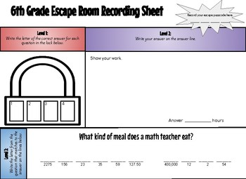 Math Escape Room 6th Grade Review (#3)