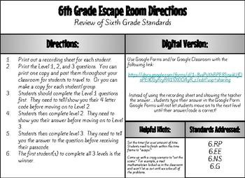 Math Escape Room 6th Grade Review (#3)