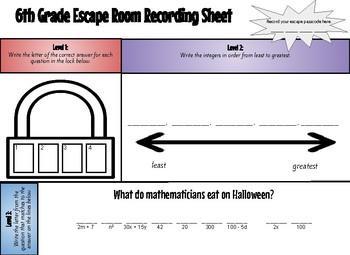 Math Escape Room - 6th Grade Review