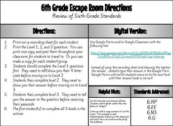Math Escape Room 6th Grade Review (#5)