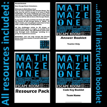 Math - Escape Room Bundle - 6 Rooms, shape, four operations, number, position...