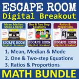 Math Escape Room - Digital Breakout - BUNDLE of 3